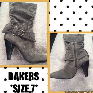 ✅ BAKERS GRAY SUEDE BOOTS SIZE 7